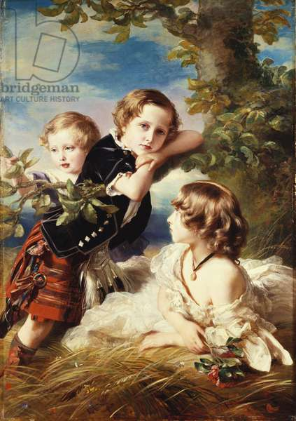 Princess Louise with Prince Arthur and Prince Leopold, 1856 (oil on canvas)