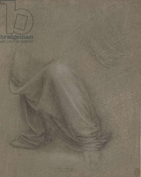 The drapery of St Anne's legs, c.1517-18 (black chalk, heightened with white, on dark grey prepared paper)