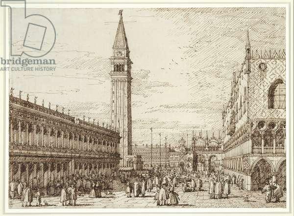The Piazetta, looking north, c.1735-40 (pencil, pen & ink on paper)