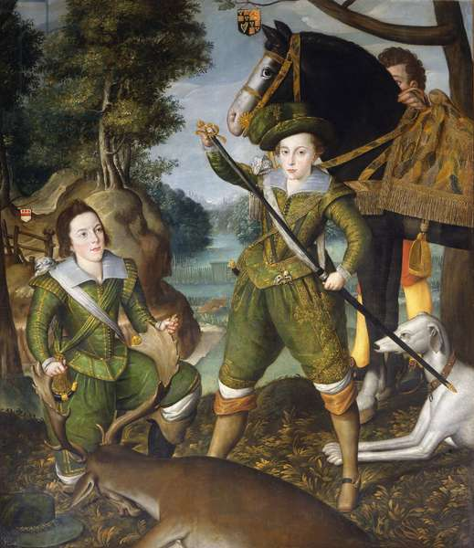 Henry, Prince of Wales in the hunting-field with Robert Devereux, 3rd Earl of Essex, c.1605 (oil on canvas)