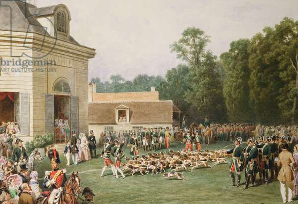 Royal Visit to Napoleon III: meet of the Imperial Hunt at the Chateau de la Muette, in the forest of St Germain, 25 August 1855 (w/c on paper)