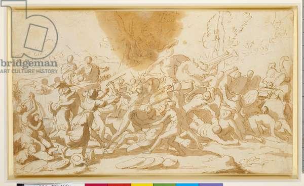 Battle between the Israelites and the Midianites, c.1630 (graphite underdrawing, pen & brown ink, brown wash on paper)