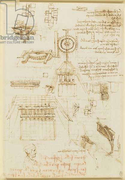 Recto: Studies for casting apparatus, and miscellaneous notes, c.1492-93 (pen & ink and chalk on paper) (recto of 5676223)