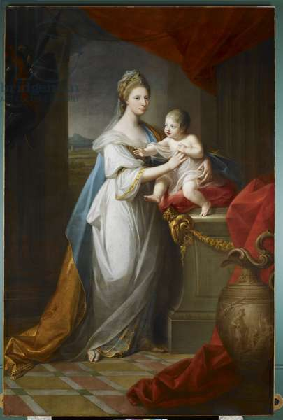 Augusta, Duchess of Brunswick, with her son, 1767 (oil on canvas)