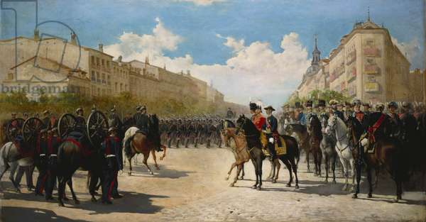 A Review of Troops at Madrid by Alfonso XII, King of Spain, and Albert Edward, Prince of Wales, later King Edward VII, 1877 (oil on canvas)