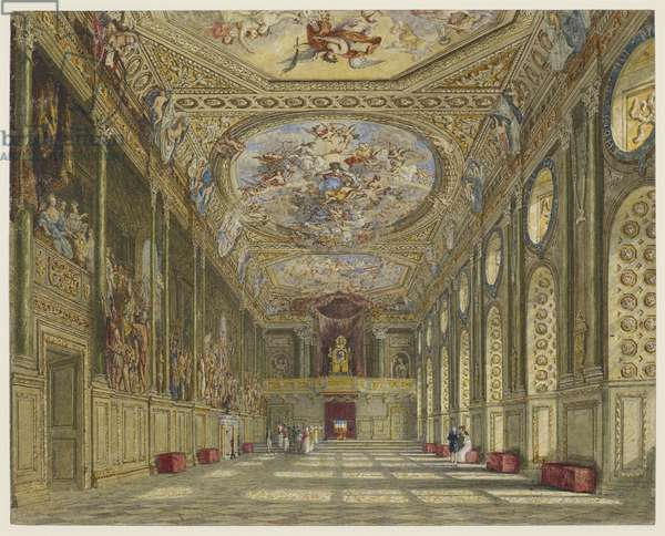 St George's Hall, Windsor Castle, c.1816 (pencil & w/c with touches of bodycolour on paper)
