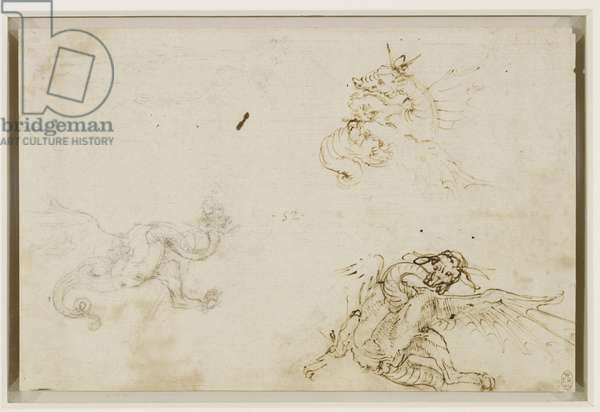 Sketches of dragons, c.1478-80 (pen & ink, chalk and stylus on paper)