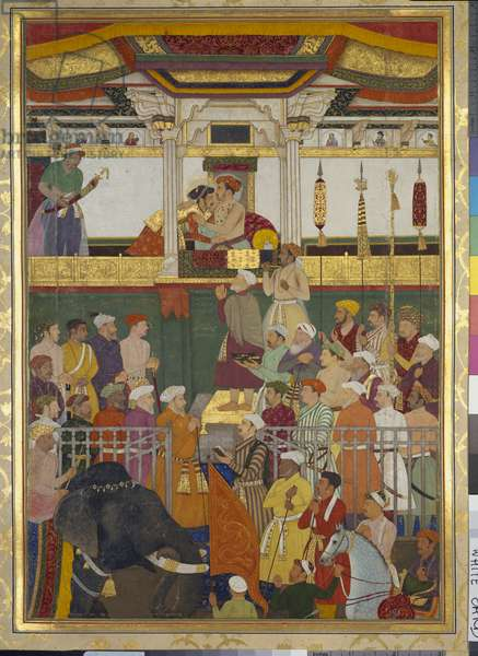 Jahangir receives Prince Khurram on his return from the Mewar campaign (19 February 1615), 1656-57 (opaque pigment & gold on paper)