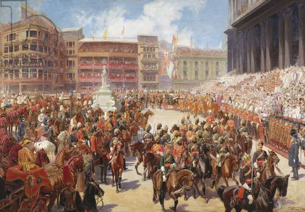 'God Save The Queen': Queen Victoria arriving at St Paul's Cathedral on the occasion of the Diamond Jubilee Thanksgiving Service, 22 June 1897, 1897-99 (oil on canvas)