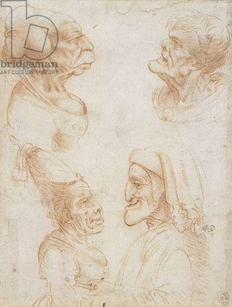 Four grotesque heads, including a caricature of Dante, c.1517-20 (chalk on paper)