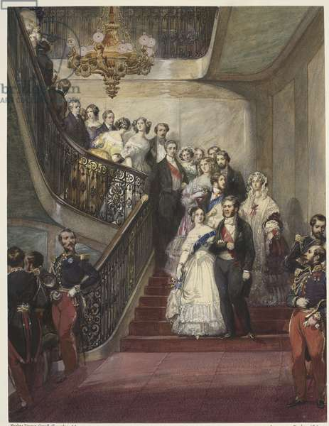 Royal visit to Louis-Philippe: the staircase of the Château d'Eu, c.1843 (w/c on paper)