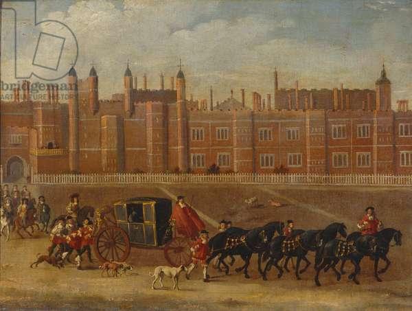 Charles II leaving Hampton Court, c.1660-65 (oil on canvas)