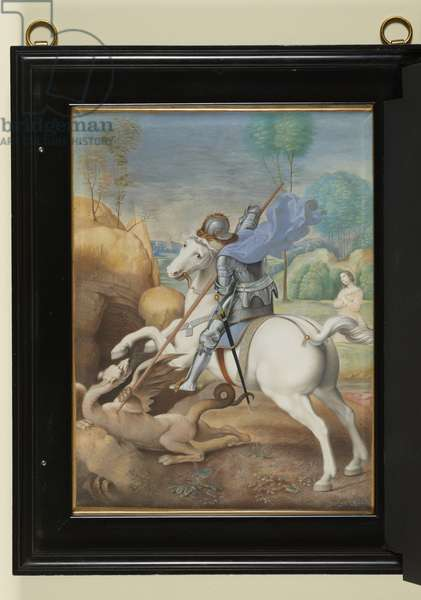 St George and the Dragon, c.1634 (bodycolour & gold on paper)