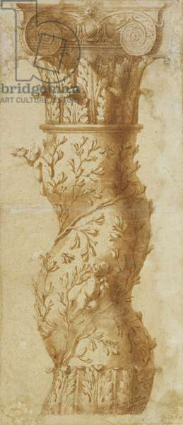 A design for the upper half of a column, 1625 (pen & ink with wash over chalk on paper)