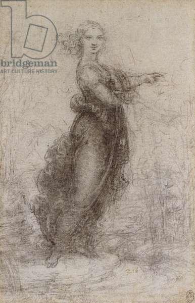 A woman in a landscape, c.1517 (black chalk on paper)