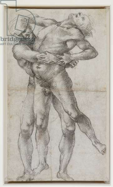 Hercules and Antaeus, c.1500 (black chalk on paper)