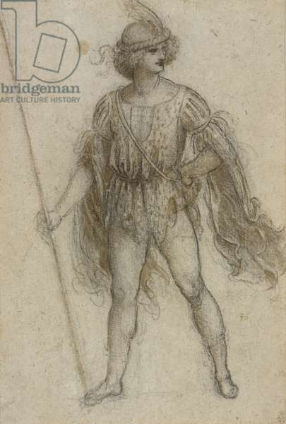 A standing masquerader, c.1517-18 (black chalk, pen & ink and wash on paper)