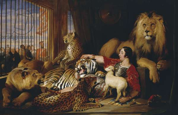 Isaac van Amburgh with his animals, 1839 (oil on canvas)