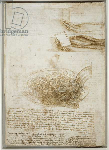 Studies of flowing water, with notes, c.1510-13 (pen & ink of black chalk on paper)