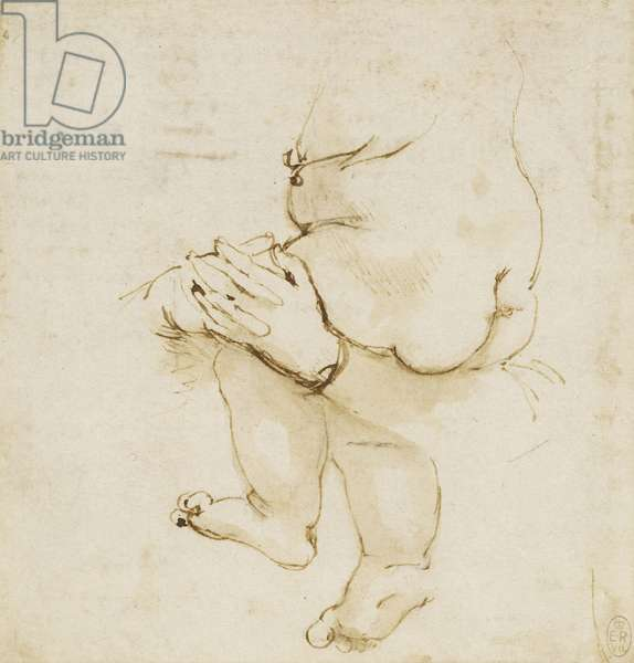 A study of a baby in its mother's arms, c.1478-80 (pen & ink with wash on paper)
