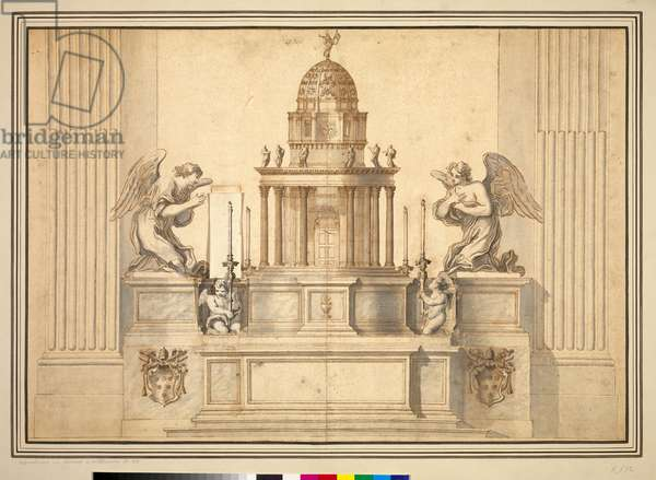 Rome, St Peter's, altar of the Cappella del SS. Sacramento: a design for the whole altar and candlesticks, c.1673-74 (pen & grey wash opn paper)