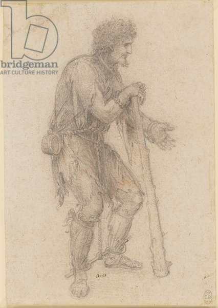 Recto: A costume study of a prisoner, c.1517-18 (chalk on paper)