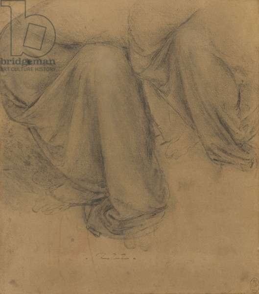 The drapery of St Anne's legs, c.1517-18 (black and white chalks on paper washed buff)