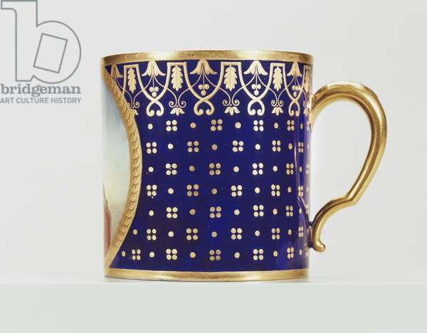 Gobelet litron, early 19th century (soft paste porcelain, dark blue ground and gilded decoration)