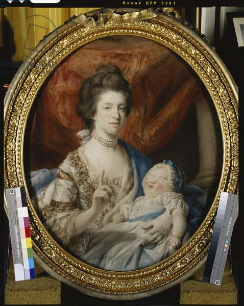 Queen Charlotte with Charlotte, Princess Royal, 1767 (pastel)