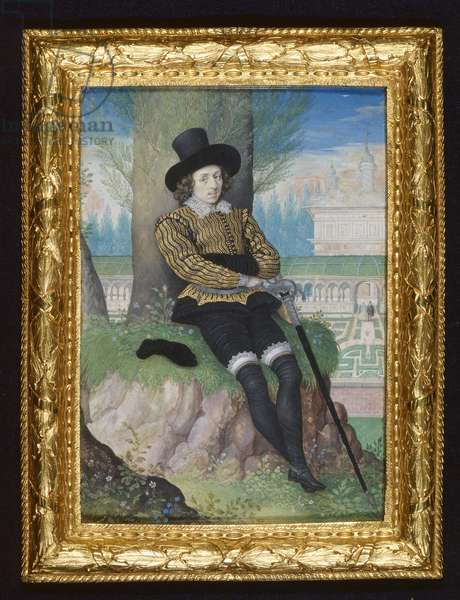 Portrait of a young man, c.1590-95 (w/c & bodycolour on vellum laid on card)