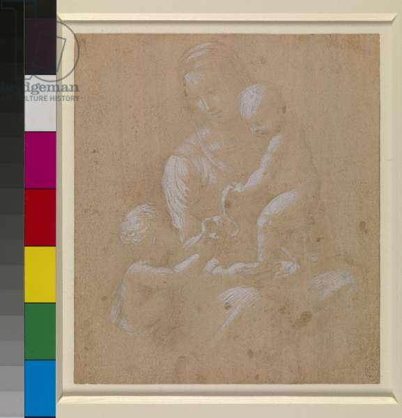 The Virgin and Child with the Infant St John, c.1505 (metalpoint (much faded) and white heightening on pink-buff prepared paper)