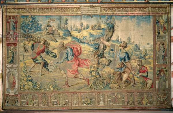 The Sacrifice of Isaac, from 'The Story of Abraham Series', 1543 (wool and silk tapestry with gilt metal-wrapped thread)