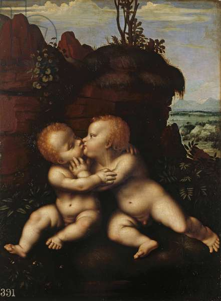The Infant Christ and Saint John Embracing. c.1500-30 (oil on panel)