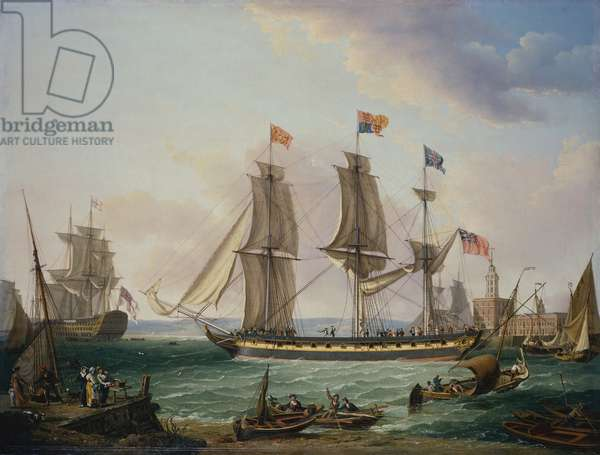 The Royal Yacht 'The Royal George', at Portsmouth, 1820 (oil on canvas)