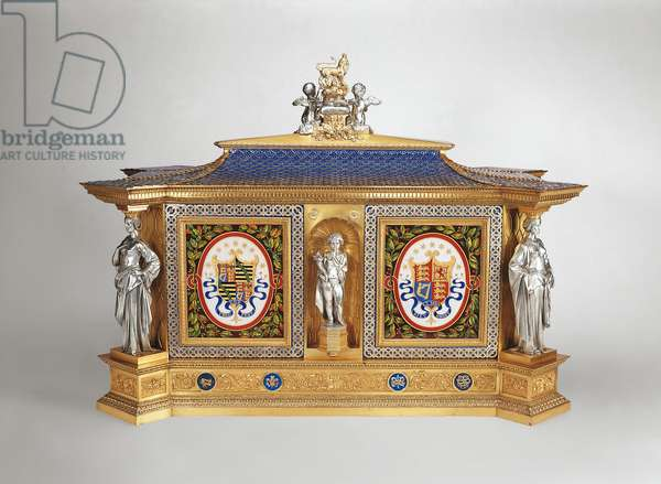 Jewel-cabinet, 1851 (oak, electro-formed and silver-plated white metal, enamelled copper, porcelain)