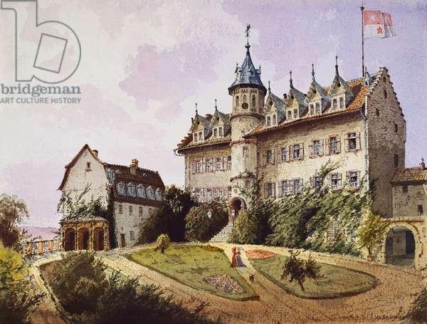 Schloss Schönberg: the terrace, c.1885 (w/c on paper)