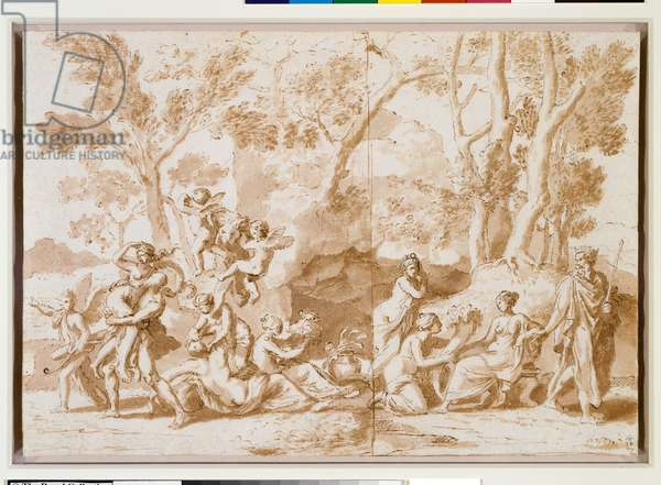 Hercules and Deianeira c.1637 (pen & brown ink & wash over slight black chalk underdrawing)