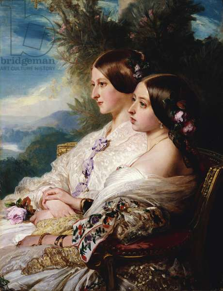 The Cousins: Queen Victoria and Victoire, Duchesse de Nemours, 1852 (oil on canvas)