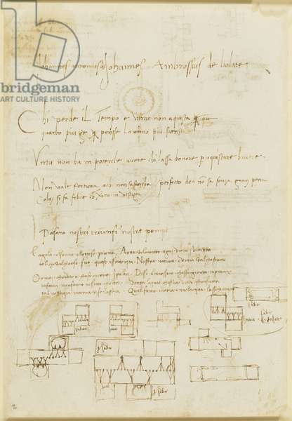 Verso: Casting studies, and lines of poetry, c.1492-93 (pen & ink on paper) (verso of 5676222)
