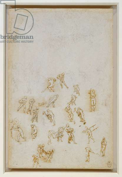Studies of figures in action, c.1508 (black chalk with pen & ink on paper)
