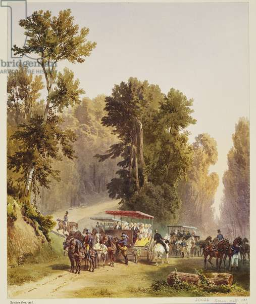 Royal visit to Louis-Philippe: changing horses at the Arbre des Princes, 6 September 1843, dated 1843 (w/c on paper)