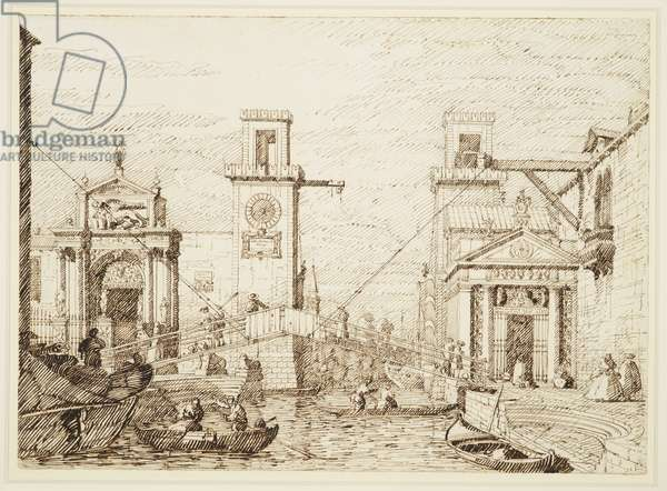 Venice: The entrance to the Arsenale, c.1740-45 (pen & ink, over free and ruled pencil)
