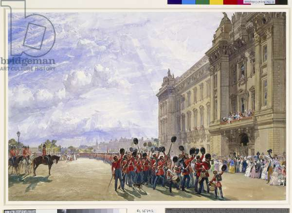 The return of the Guards from the Crimea, outside Buckingham Palace, 9th July 1856, 1856 (w/c on paper)