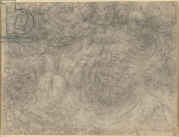 A deluge, c.1517-18, (chalk on paper)