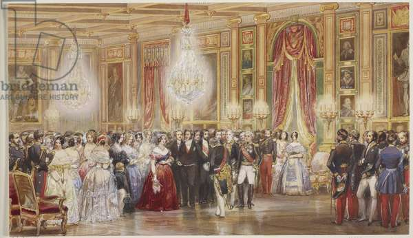 Royal visit to Louis-Philippe: presentations to Queen Victoria in the Galerie des Guises, Château d'Eu, 2 September 1843, dated 1843 (w/c on paper)