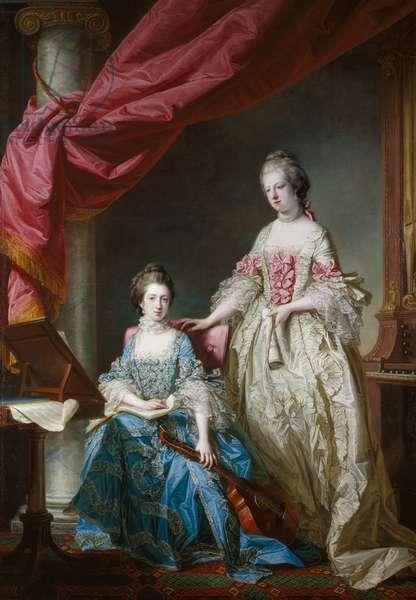 Princess Louisa and Princess Caroline, 1767 (oil on canvas)