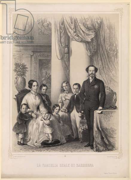 La Famiglia Reale (King Vittorio Emanuele II of Italy with his Family), 1853 (engraving)