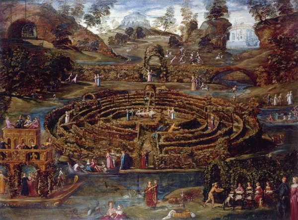 Pleasure garden with a maze, c.1579-84 (oil on canvas)
