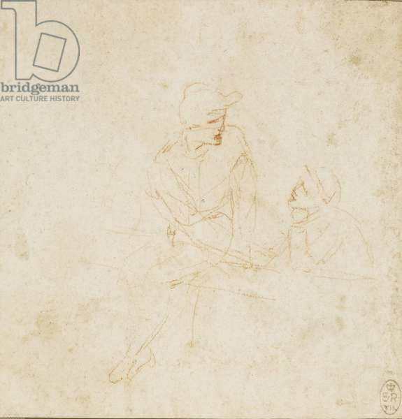 Recto: A study of two figures, c.1492 (chalk on paper)