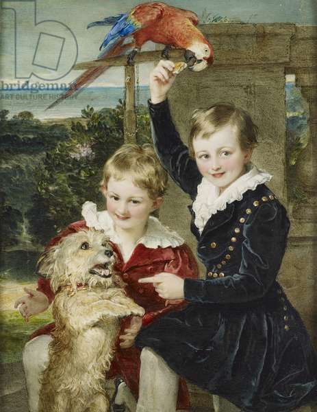Prince Ernst and Prince Edward of Leiningen with Islay and a Macaw, 1839 (w/c on ivory laid on card)